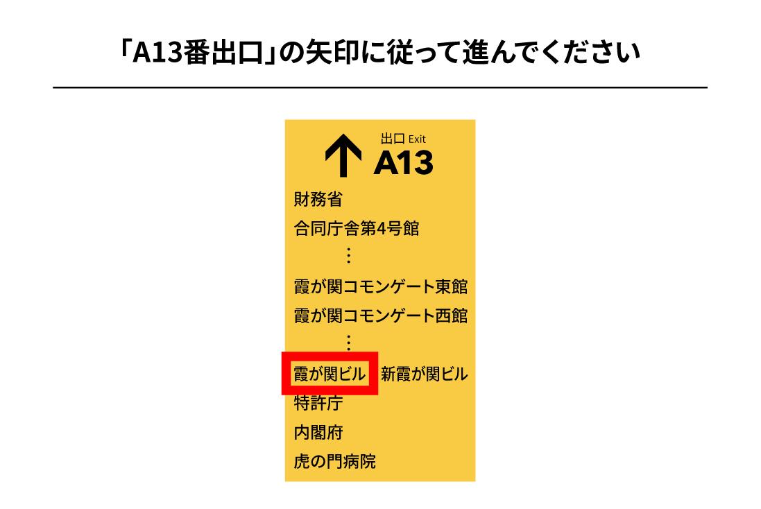 千代田線霞ヶ関駅からのアクセス2
